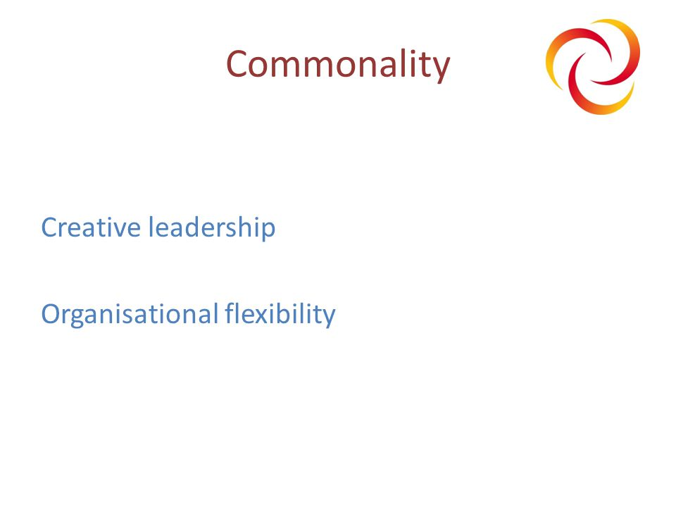 Commonality Creative leadership Organisational flexibility