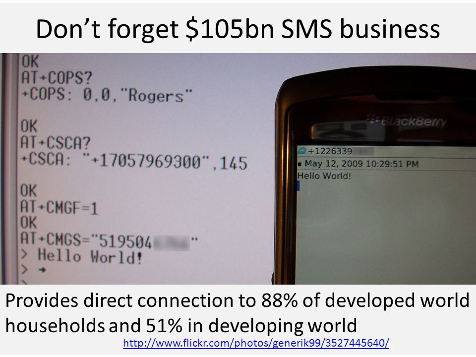 Don't forget $105bn SMS business Provides direct connection to 88% of developed world households and 51% in developing world http://www.flickr.com/photos/generik99/3527445640/