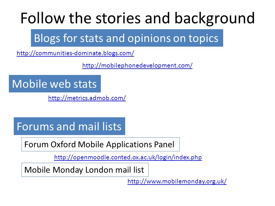Follow the stories and background http://communities-dominate.blogs.com/ Blogs for stats and opinions on topics http://openmoodle.conted.ox.ac.uk/logi