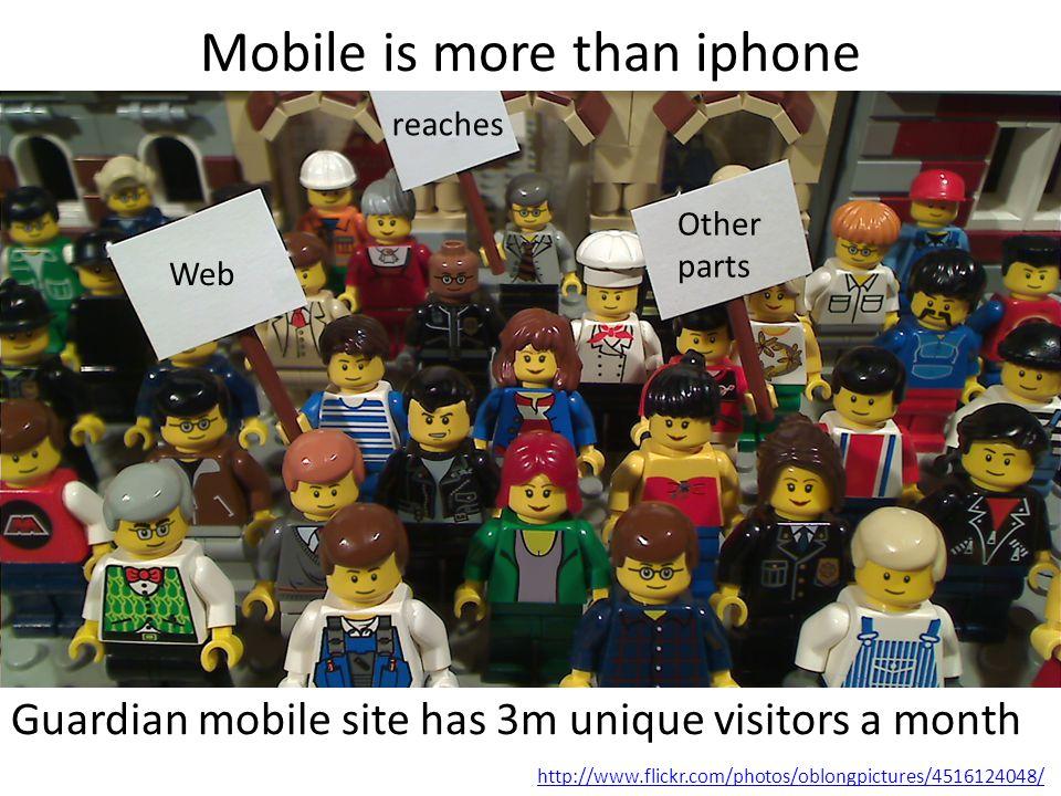 Mobile is more than iphone Guardian mobile site has 3m unique visitors a month http://www.flickr.com/photos/oblongpictures/4516124048/ Web reaches Other parts