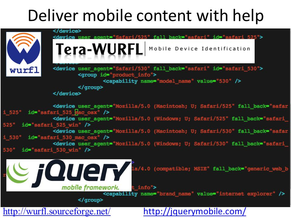 http://wurfl.sourceforge.net/ Deliver mobile content with help http://jquerymobile.com/