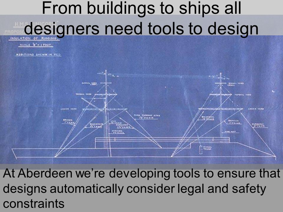 From buildings to ships all designers need tools to design At Aberdeen we're developing tools to ensure that designs automatically consider legal and safety constraints