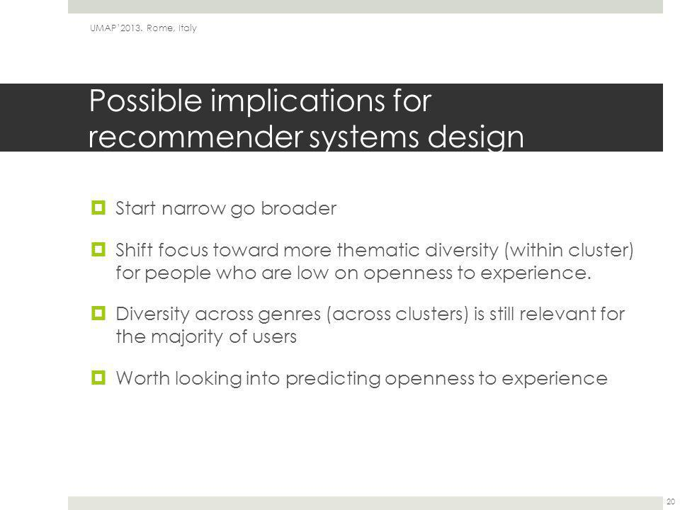 Possible implications for recommender systems design  Start narrow go broader  Shift focus toward more thematic diversity (within cluster) for peopl