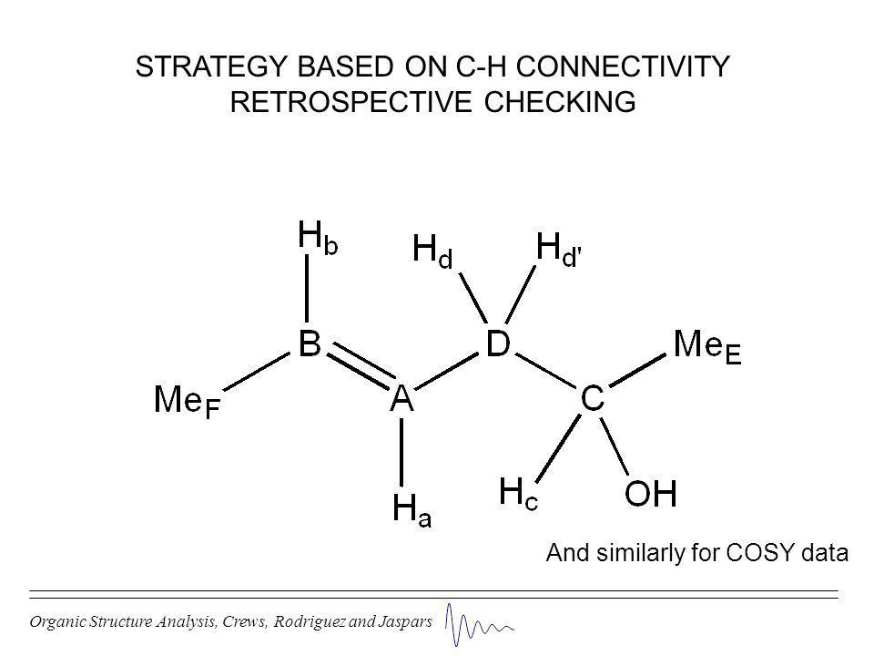 Organic Structure Analysis, Crews, Rodriguez and Jaspars STRATEGY BASED ON C-H CONNECTIVITY RETROSPECTIVE CHECKING And similarly for COSY data