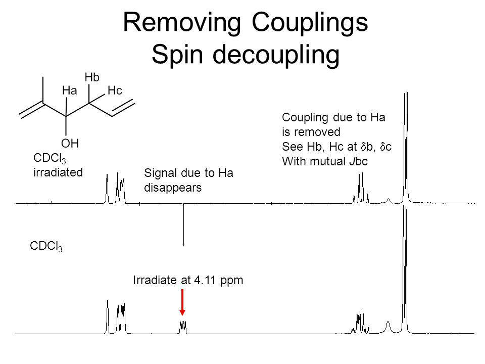 Removing Couplings Spin decoupling CDCl 3 irradiated Irradiate at 4.11 ppm Signal due to Ha disappears Coupling due to Ha is removed See Hb, Hc at  b