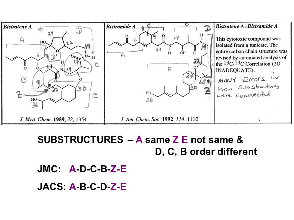 SUBSTRUCTURES – A same Z E not same & D, C, B order different JMC: A-D-C-B-Z-E JACS: A-B-C-D-Z-E