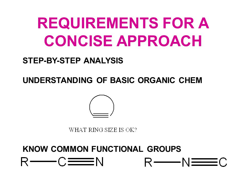 REQUIREMENTS FOR A CONCISE APPROACH STEP-BY-STEP ANALYSIS UNDERSTANDING OF BASIC ORGANIC CHEM KNOW COMMON FUNCTIONAL GROUPS