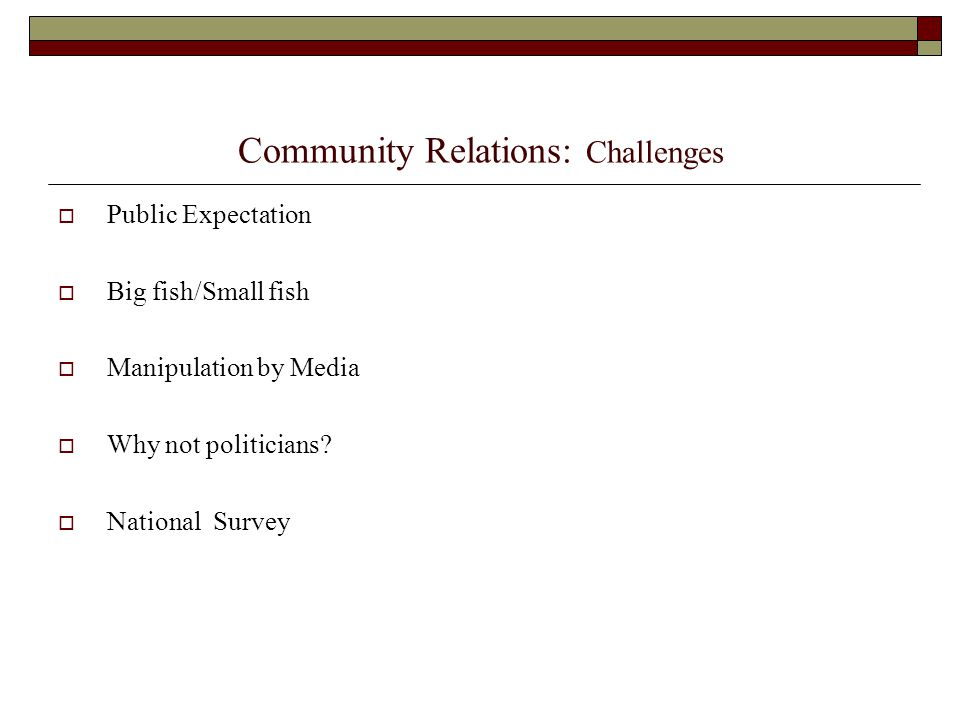 Community Relations: Challenges  Public Expectation  Big fish/Small fish  Manipulation by Media  Why not politicians?  National Survey