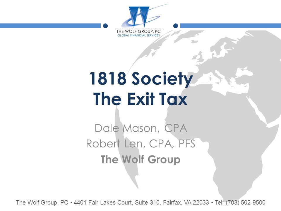Mark-to-Market Tax  $636K exclusion amount allocated pro rata to all assets having built-in gain  Green card holders are deemed to have basis in assets equal to FMV of assets on date first became a tax resident.