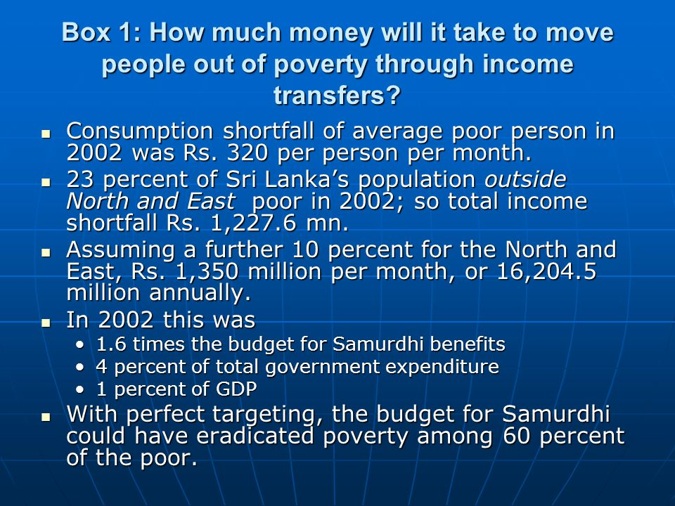 Box 1: How much money will it take to move people out of poverty through income transfers.