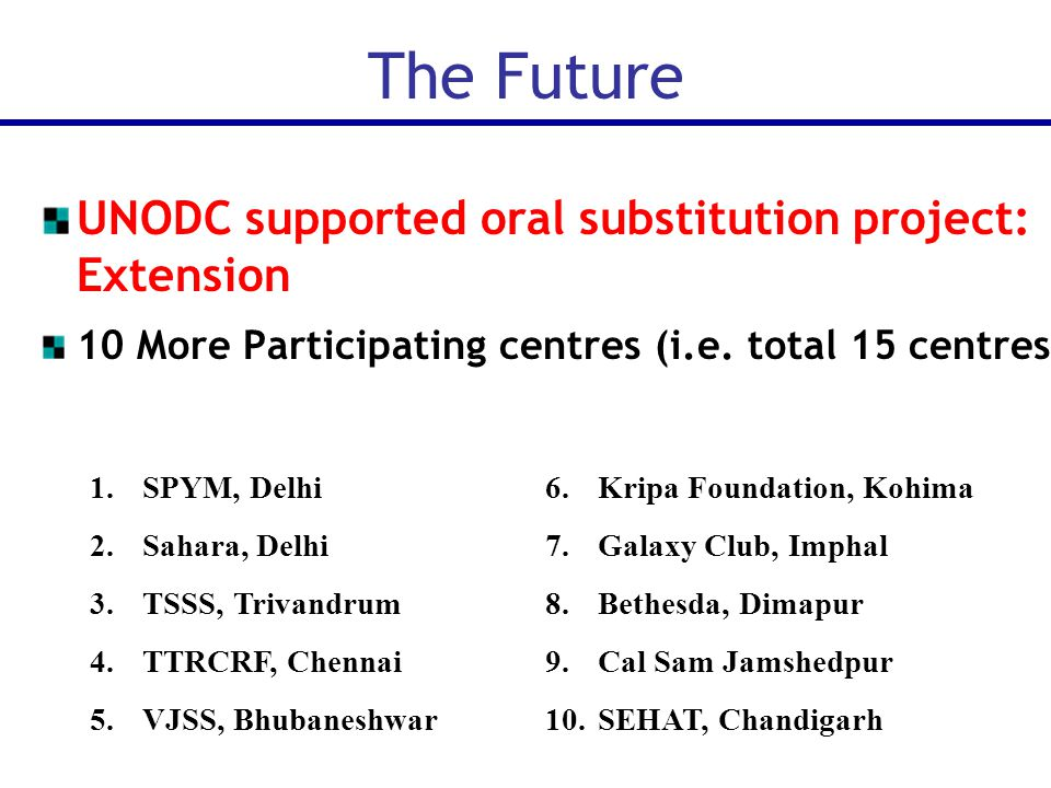 UNODC supported oral substitution project: Extension 10 More Participating centres (i.e.