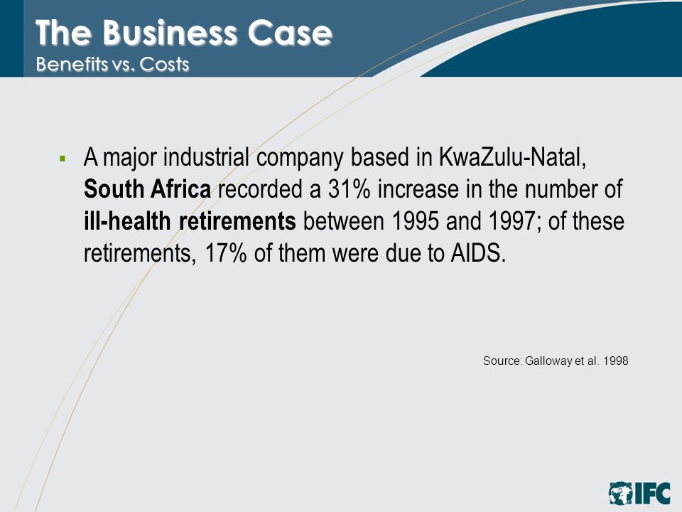 The Business Case Benefits vs. Costs  A major industrial company based in KwaZulu-Natal, South Africa recorded a 31% increase in the number of ill-he