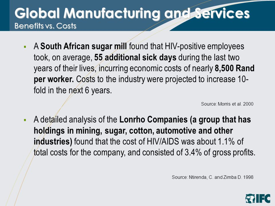 Global Manufacturing and Services Benefits vs. Costs  A South African sugar mill found that HIV-positive employees took, on average, 55 additional si