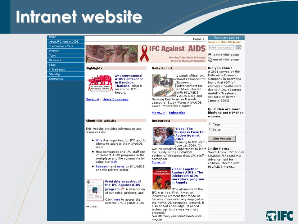 Intranet website