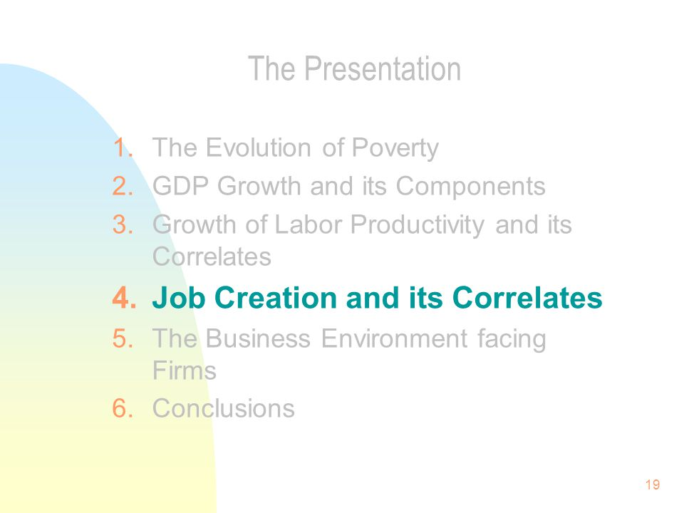 19 The Presentation 1.The Evolution of Poverty 2.GDP Growth and its Components 3.Growth of Labor Productivity and its Correlates 4.Job Creation and its Correlates 5.The Business Environment facing Firms 6.Conclusions