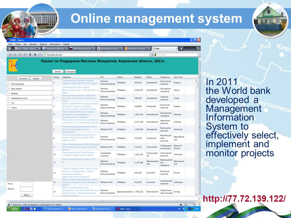 Online management system In 2011 the World bank developed a Management Information System to effectively select, implement and monitor projects http://77.72.139.122/