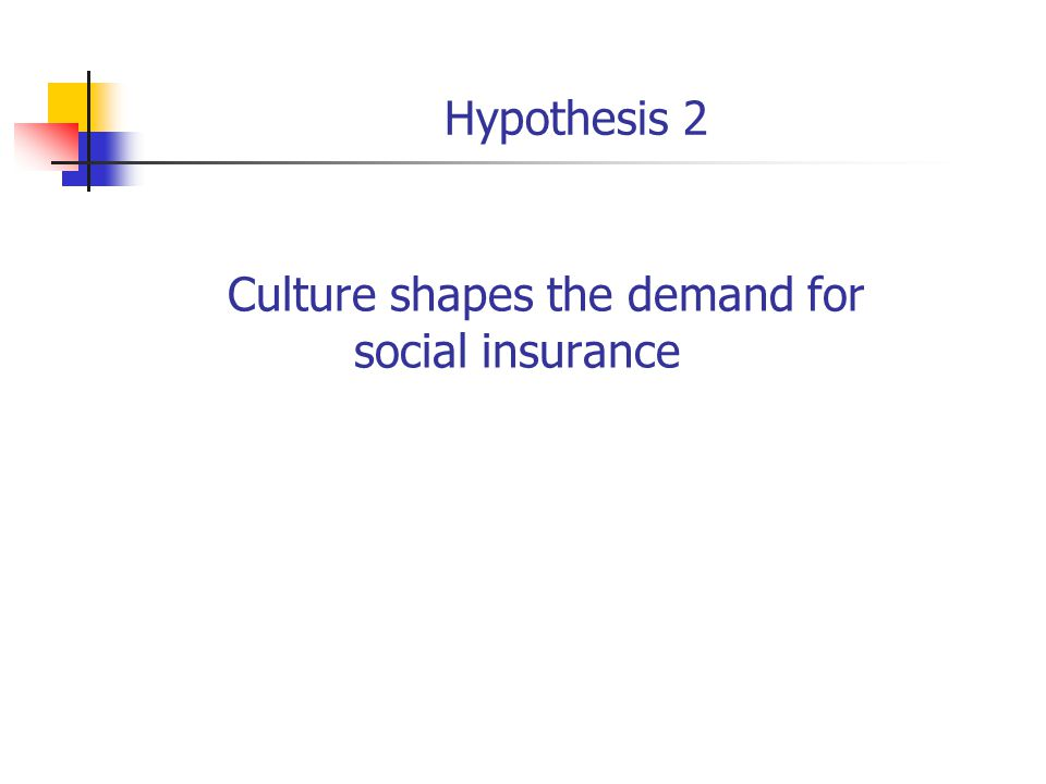 Hypothesis 2 Culture shapes the demand for social insurance