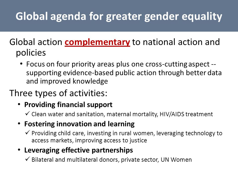 Global action complementary to national action and policies Focus on four priority areas plus one cross-cutting aspect -- supporting evidence-based public action through better data and improved knowledge Three types of activities: Providing financial support Clean water and sanitation, maternal mortality, HIV/AIDS treatment Fostering innovation and learning Providing child care, investing in rural women, leveraging technology to access markets, improving access to justice Leveraging effective partnerships Bilateral and multilateral donors, private sector, UN Women Global agenda for greater gender equality