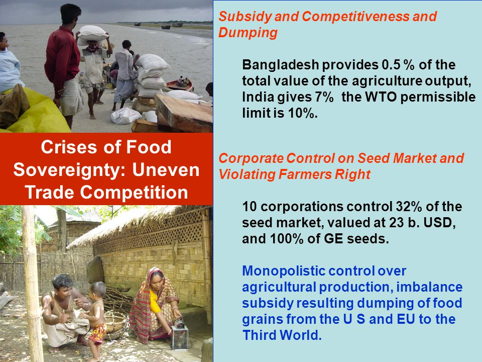 Subsidy and Competitiveness and Dumping Bangladesh provides 0.5 % of the total value of the agriculture output, India gives 7% the WTO permissible lim