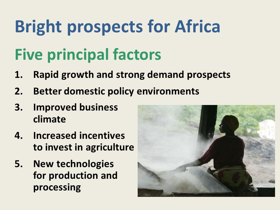 Bright prospects for Africa Five principal factors 1.Rapid growth and strong demand prospects 2.Better domestic policy environments 3.Improved busines