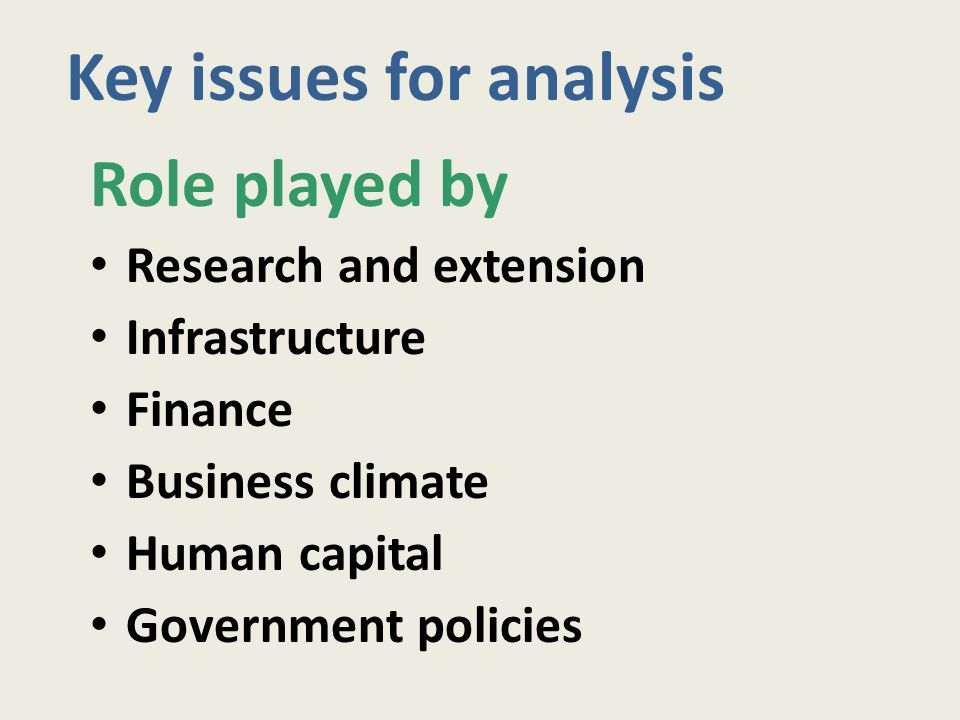 Key issues for analysis Role played by Research and extension Infrastructure Finance Business climate Human capital Government policies