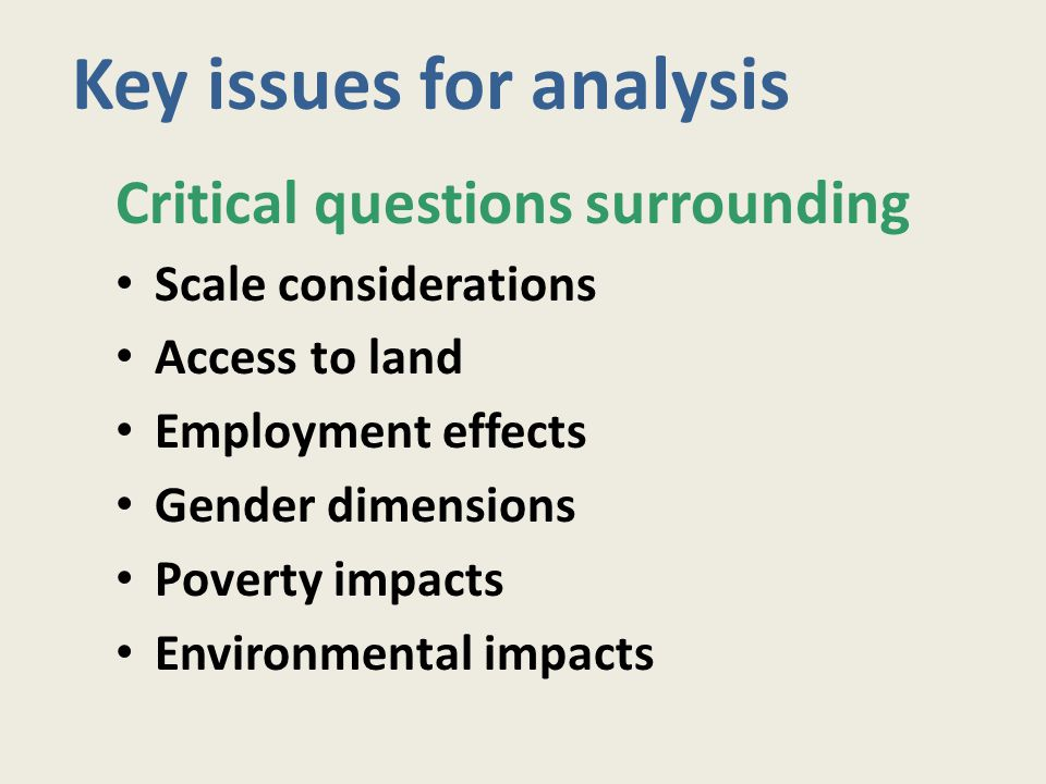 Critical questions surrounding Scale considerations Access to land Employment effects Gender dimensions Poverty impacts Environmental impacts Key issu