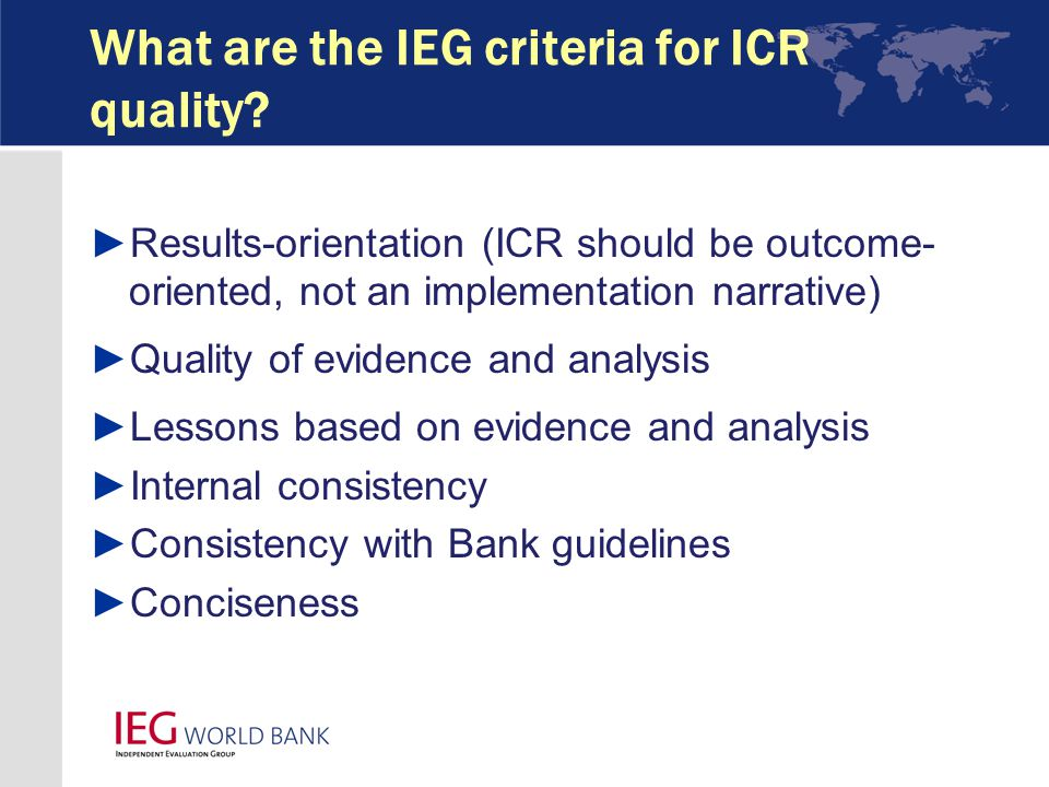 What are the IEG criteria for ICR quality.
