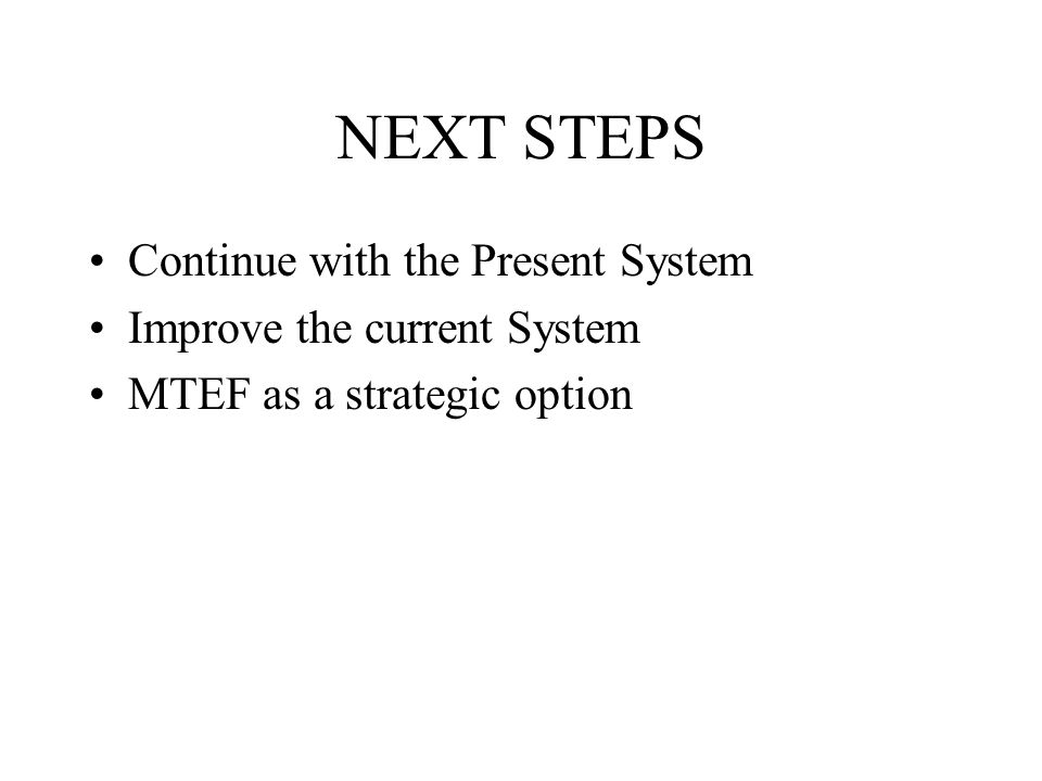 NEXT STEPS Continue with the Present System Improve the current System MTEF as a strategic option