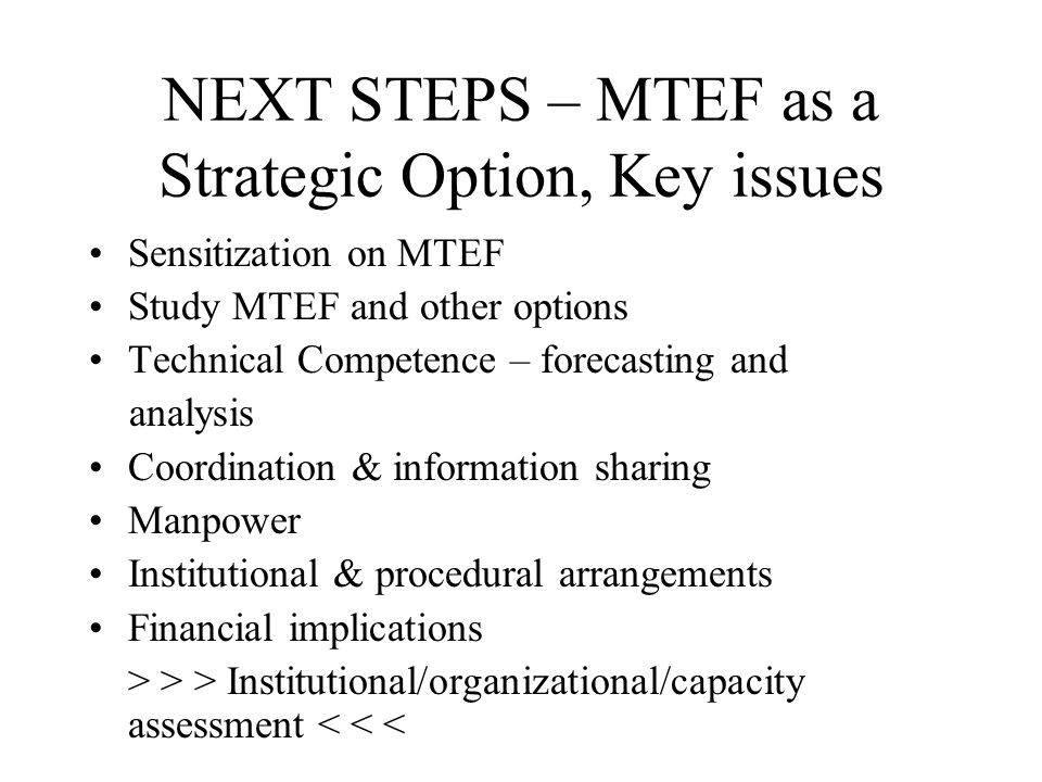 NEXT STEPS – MTEF as a Strategic Option, Key issues Sensitization on MTEF Study MTEF and other options Technical Competence – forecasting and analysis Coordination & information sharing Manpower Institutional & procedural arrangements Financial implications > > > Institutional/organizational/capacity assessment < < <