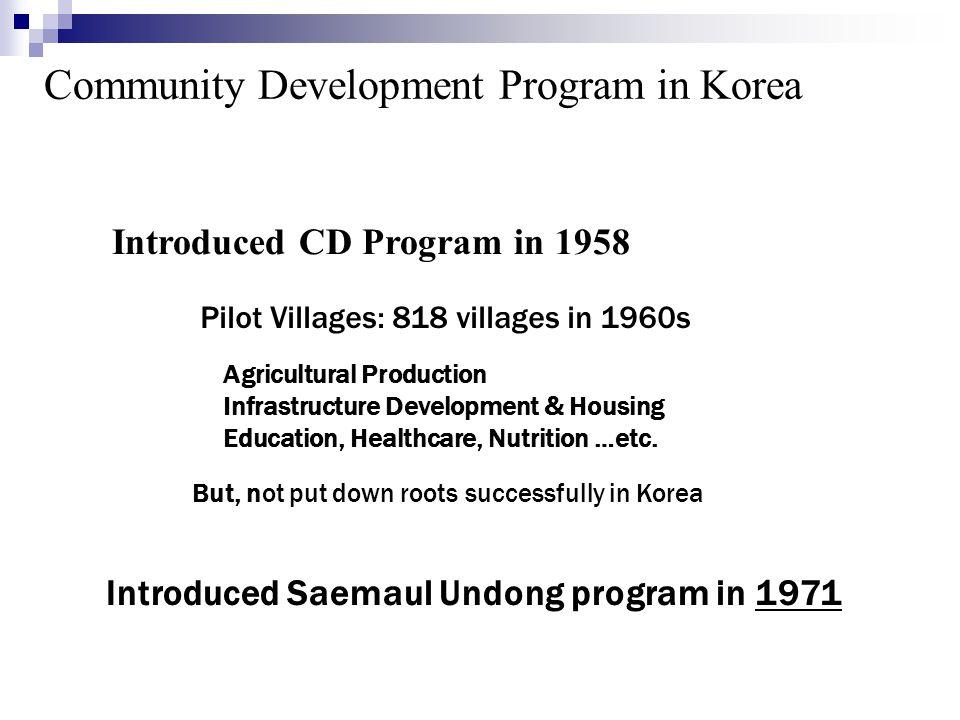 Community Development Program in Korea Introduced CD Program in 1958 Pilot Villages: 818 villages in 1960s Agricultural Production Infrastructure Deve