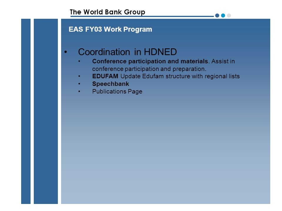 The World Bank Group ●●●●●● FY 03 Program Achievement Q1 Q2 Q3 Q4 1: Query response 2: Pro-Active Information Sharing 3: Pro-Active Targeted Outreach 4: Training