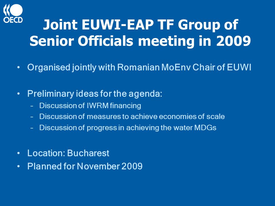 Joint EUWI-EAP TF Group of Senior Officials meeting in 2009 Organised jointly with Romanian MoEnv Chair of EUWI Preliminary ideas for the agenda: –Discussion of IWRM financing –Discussion of measures to achieve economies of scale –Discussion of progress in achieving the water MDGs Location: Bucharest Planned for November 2009