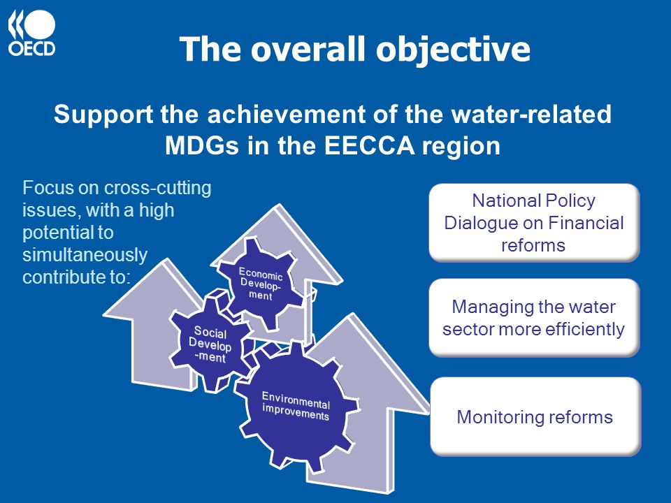 The overall objective Support the achievement of the water-related MDGs in the EECCA region Focus on cross-cutting issues, with a high potential to simultaneously contribute to: Monitoring reforms Managing the water sector more efficiently National Policy Dialogue on Financial reforms