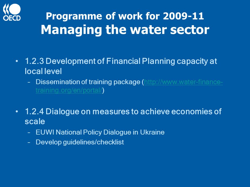 Programme of work for 2009-11 Monitoring Reforms To support water sector reform and to monitor progress in this regard, including monitoring progress in achieving the water-related Millennium Development Goals 1.1 Monitoring Progress in implementing the water- related MDGs –Collecting water utility performance data and information about institutional and legal reforms in several EECCA country –Publishing of country report and data on World Bank's IB-Net website –Report assessing progress towards the MDGs in EECCA for 2011 Environment for Europe Ministerial in Astana