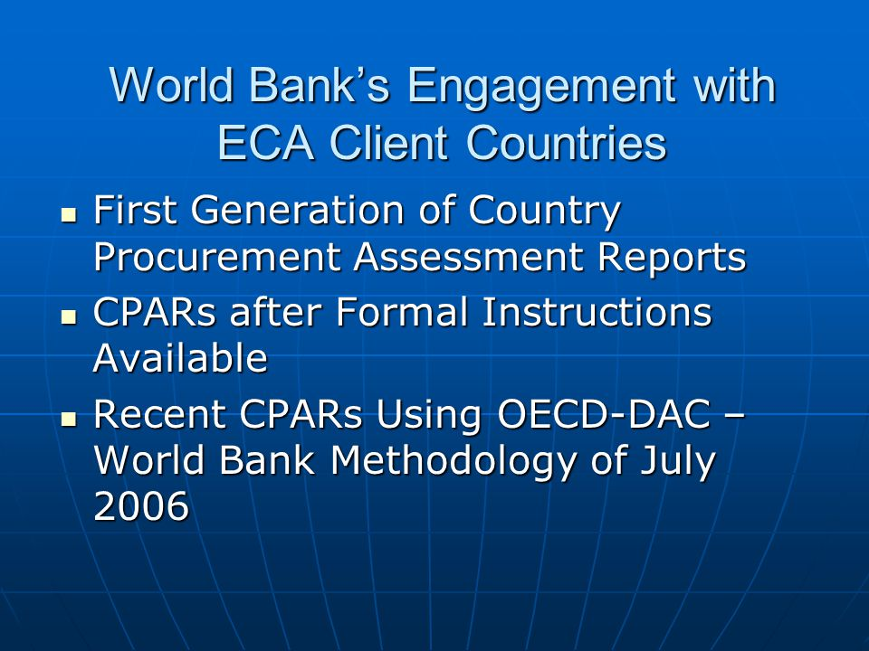 Engagement with Other Donors in ECA Countries With European Commission- opportunities and challenges, e.g.