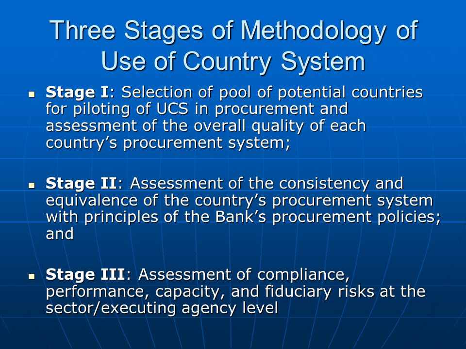Bank Methodology using OCED/DAC The Bank s methodology for use of the assessment tool defines benchmark scores for each of the 54 sub-indicators.