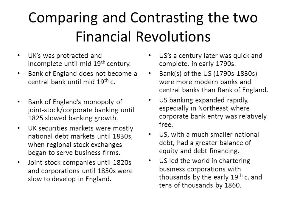 Conclusions Feedback mechanism between financial development and growth – Cannot draw causal inferences about direction – Financial institutions couldn't create growth without industrial base Finance-growth relationship varies a lot over time & place – Cannot say that this type of system was best for all periods – Or that it would have worked as well in other places