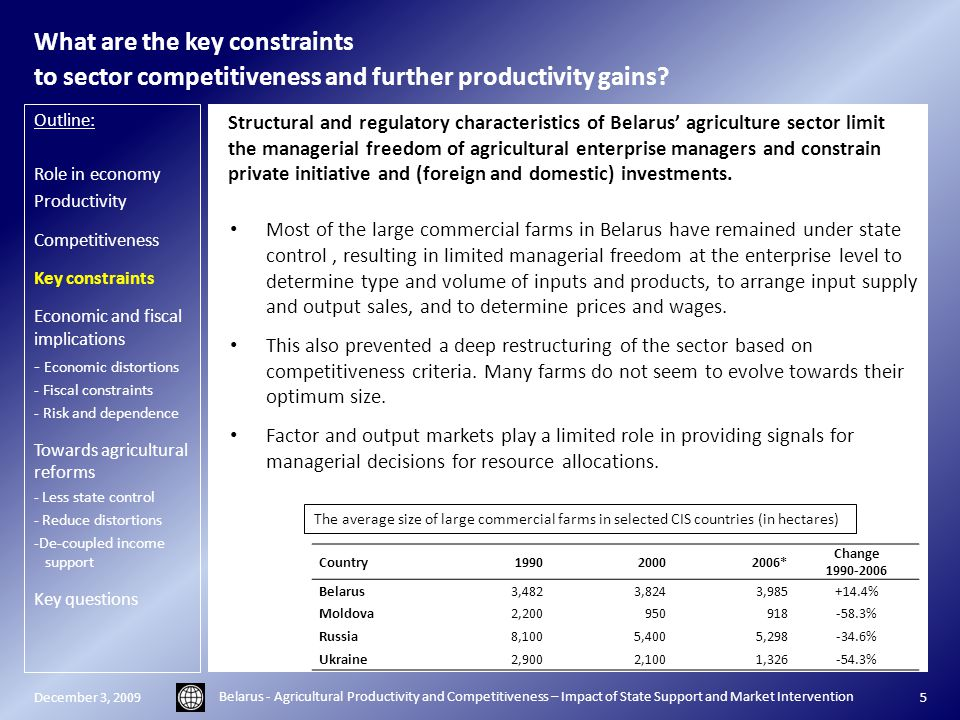 What are the key constraints to sector competitiveness and further productivity gains.
