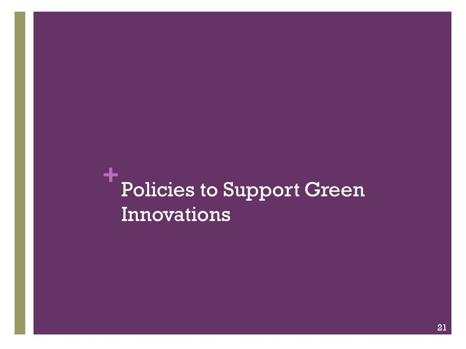 + Policies to Support Green Innovations 21