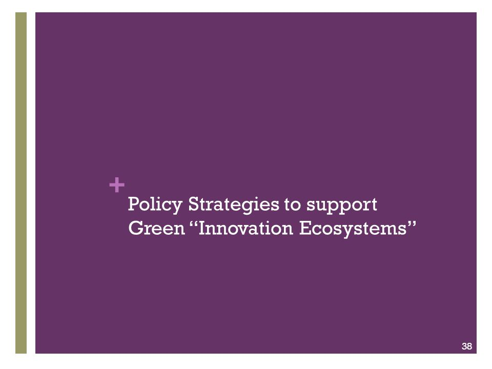 "+ Policy Strategies to support Green ""Innovation Ecosystems"" 38"