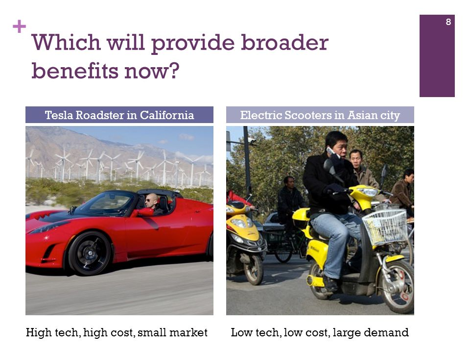 + Which will provide broader benefits now? 8 Tesla Roadster in CaliforniaElectric Scooters in Asian city High tech, high cost, small marketLow tech, l