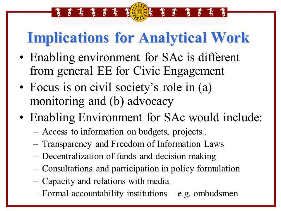 Implications for Analytical Work Enabling environment for SAc is different from general EE for Civic Engagement Focus is on civil society's role in (a
