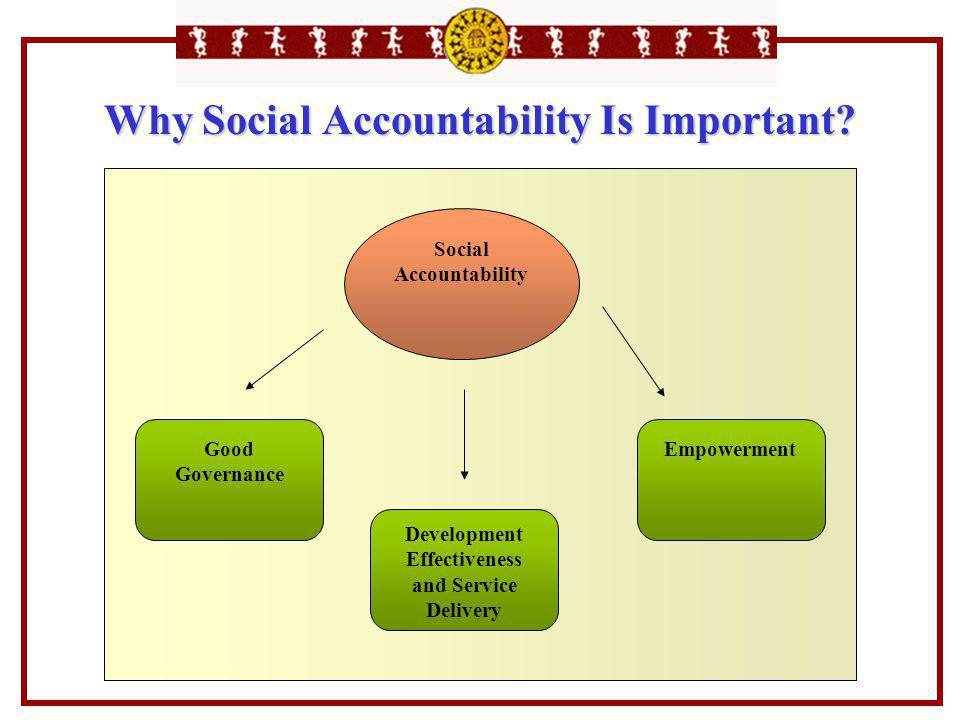 Why Social Accountability Is Important? Social Accountability Good Governance Development Effectiveness and Service Delivery Empowerment