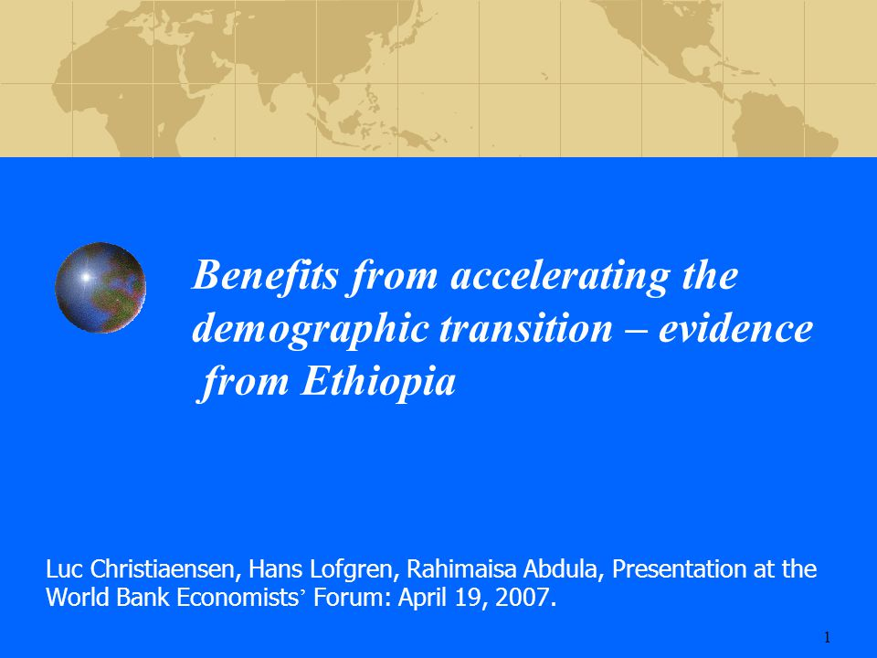 Study Questions  How do population growth and economic development interact: would Ethiopia stand to gain from a more rapid decline in fertility.