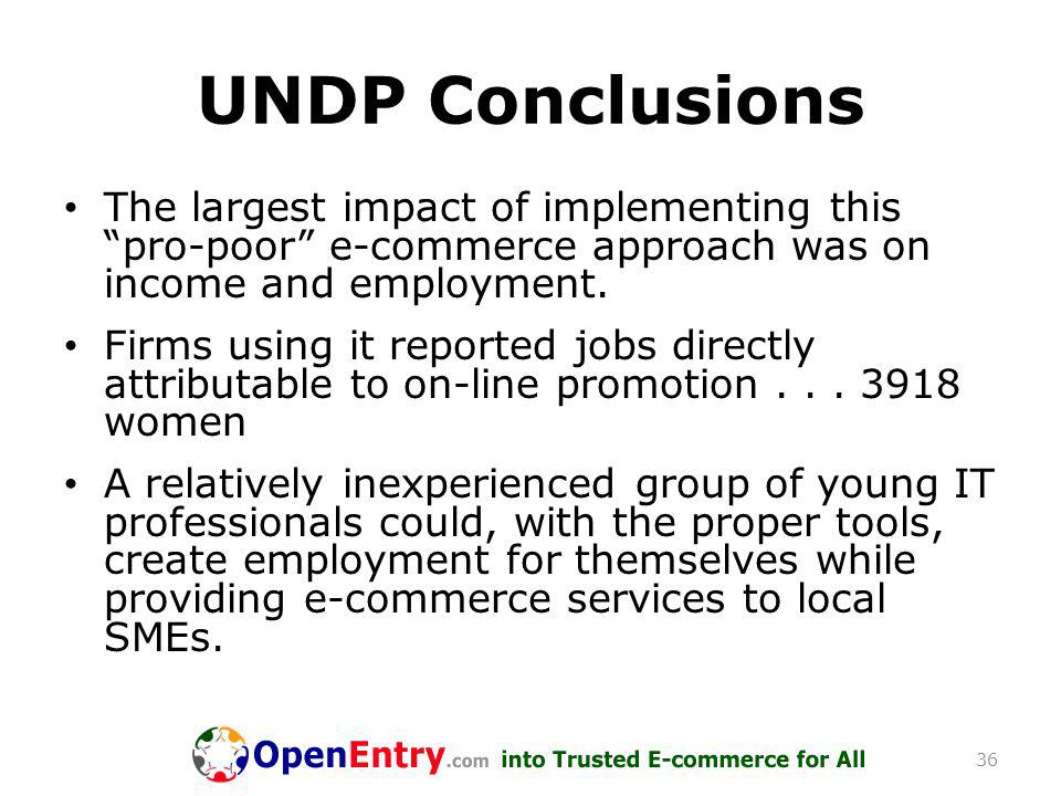 UNDP Conclusions The largest impact of implementing this pro-poor e-commerce approach was on income and employment.