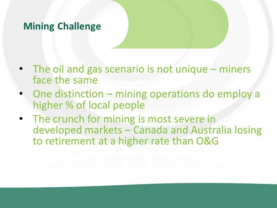 The oil and gas scenario is not unique – miners face the same One distinction – mining operations do employ a higher % of local people The crunch for mining is most severe in developed markets – Canada and Australia losing to retirement at a higher rate than O&G Mining Challenge