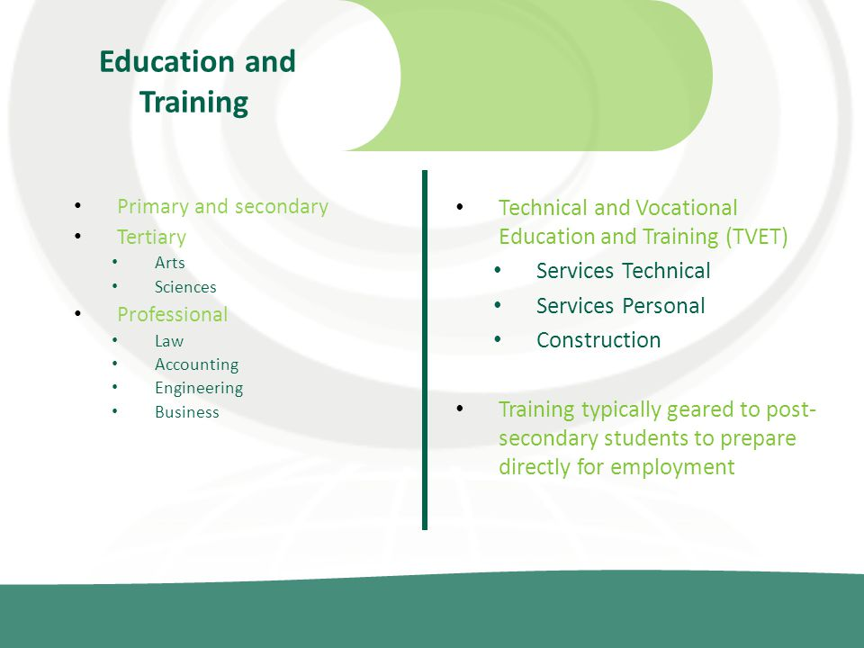 Education and Training Primary and secondary Tertiary Arts Sciences Professional Law Accounting Engineering Business Technical and Vocational Education and Training (TVET) Services Technical Services Personal Construction Training typically geared to post- secondary students to prepare directly for employment