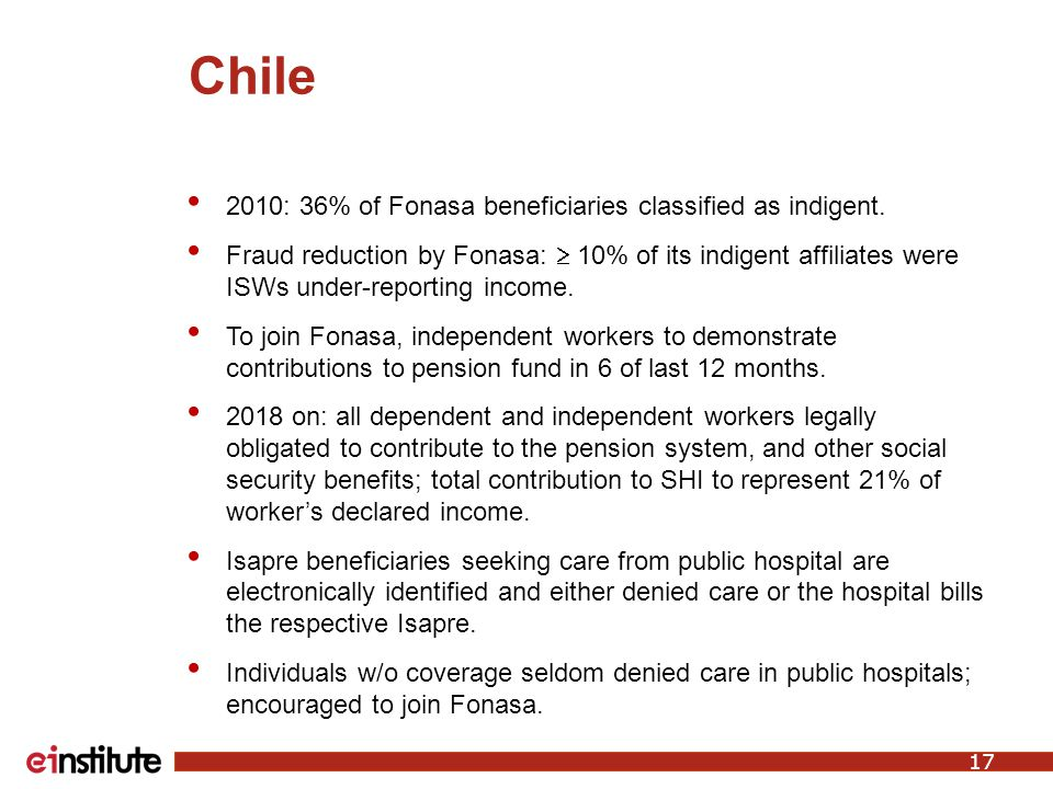 Chile 2010: 36% of Fonasa beneficiaries classified as indigent.