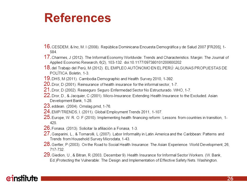 References 16. CESDEM, & Inc, M. I (2008).