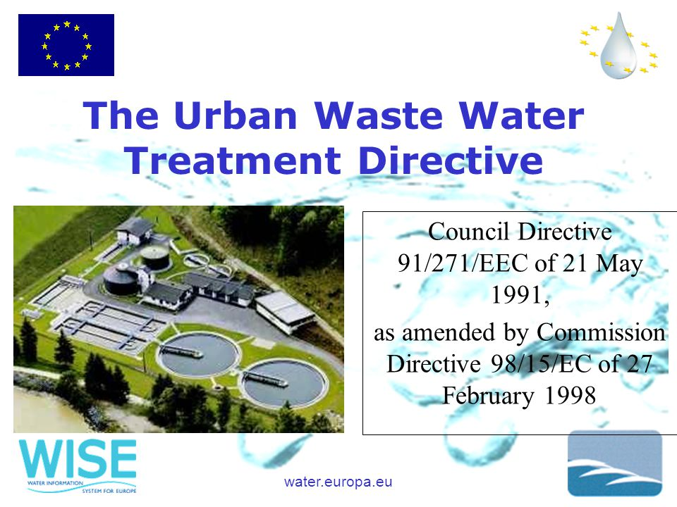 water.europa.eu Council Directive 91/271/EEC of 21 May 1991, as amended by Commission Directive 98/15/EC of 27 February 1998 The Urban Waste Water Treatment Directive
